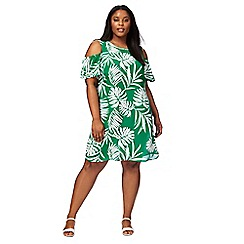 The Collection - Green palm print plus size cold shoulder dress