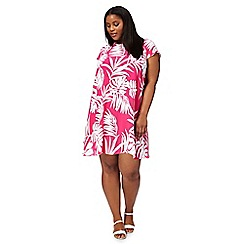 The Collection - Pink palm print plus size swing dress