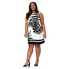 The Collection - White and black palm print plus size dress