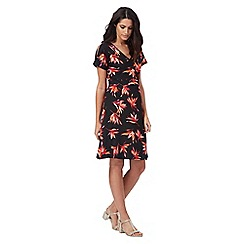 The Collection - Black tropical floral print dress