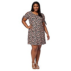 The Collection - Multi-coloured floral print plus size cold shoulder dress