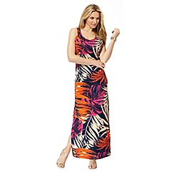 The Collection - Pink leaf print plus size maxi dress