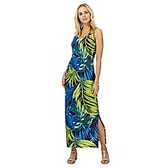 The Collection - Green leaf print maxi dress
