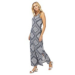 The Collection - Navy patchwork print scoop neck maxi dress