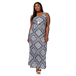 The Collection - Navy patchwork print scoop neck plus size maxi dress