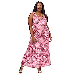 The Collection - Bright pink patchwork print plus size maxi dress