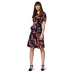 The Collection - Navy floral print tea dress