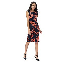 The Collection - Navy and coral floral print dress
