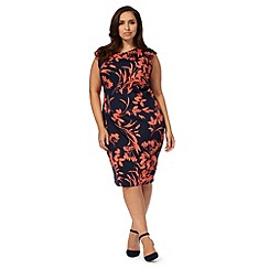 The Collection - Navy and coral floral print plus size dress