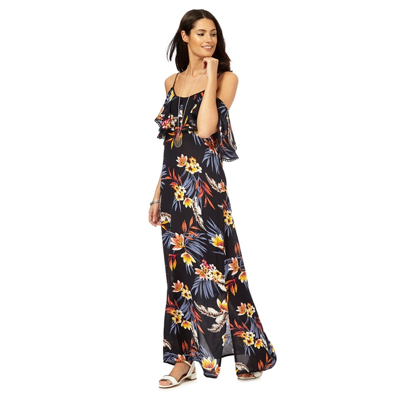 The Collection Navy floral print maxi dress