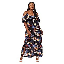 The Collection - Navy floral print plus size maxi dress