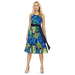 The Collection - Blue palm leaf print prom dress