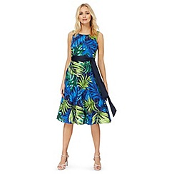 The Collection - Blue palm leaf print plus size prom dress