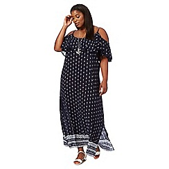 The Collection - Navy printed plus size maxi dress
