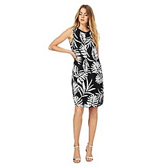 The Collection - Black palm leaf print knee length plus size shift dress