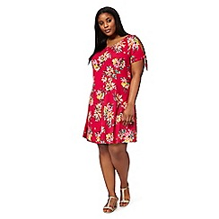 The Collection - Pink tropical floral print plus size cold shoulder swing dress