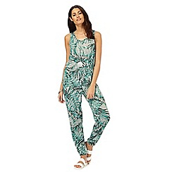 The Collection - Grey and green palm print jumpsuit