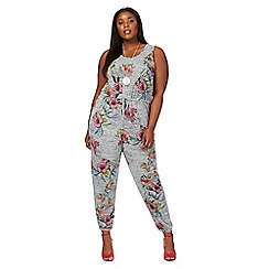 The Collection - Grey floral print plus size jumpsuit