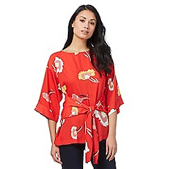 The Collection - Red floral print kimono top