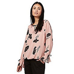 The Collection - Pale pink floral print flute sleeve blouse
