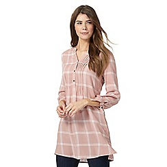 The Collection - Light pink windowpane checked print longline shirt