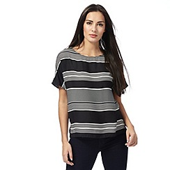 The Collection - Black striped boat neck top