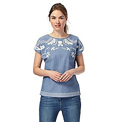 The Collection - Blue chambray embroidered top