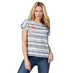 The Collection - Blue striped print embroidered top