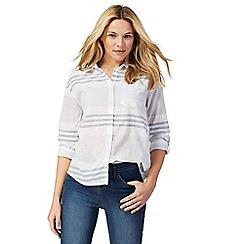 The Collection - Blue striped print three-quarter length sleeve shirt