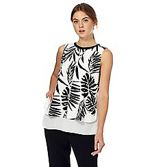 The Collection - Ivory and black palm leaf print layered top