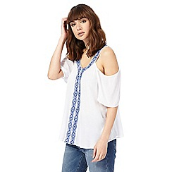 The Collection - White embroidered insert cold shoulder top