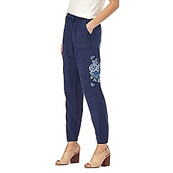 The Collection - Navy embroidered tencel cargo trousers