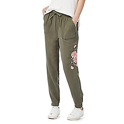 The Collection - Khaki floral embellished cargo pants