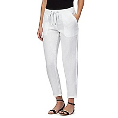 The Collection - White linen blend cropped jogging bottoms