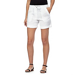 The Collection - White linen blend cargo shorts