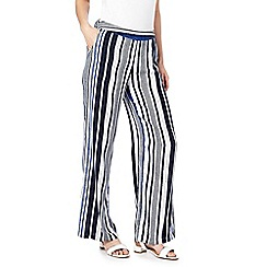 The Collection - Navy and white striped wide leg trousers