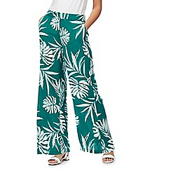 The Collection - Dark green palm print wide leg trousers