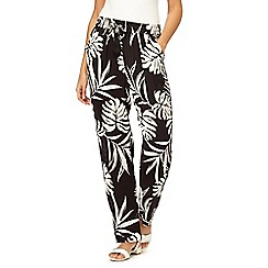 The Collection - Black and white palm print tapered trousers
