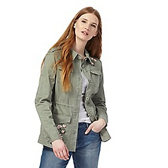 The Collection - Khaki floral embroidered utility jacket