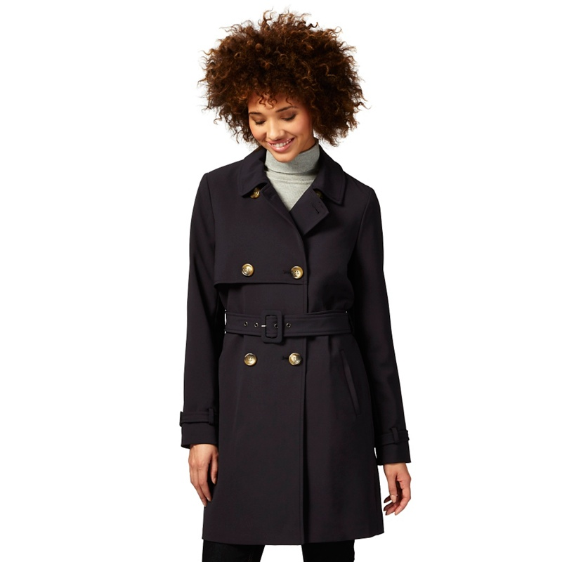 The Collection Navy (Blue) Crepe Trench Coat, Womens, Size:
