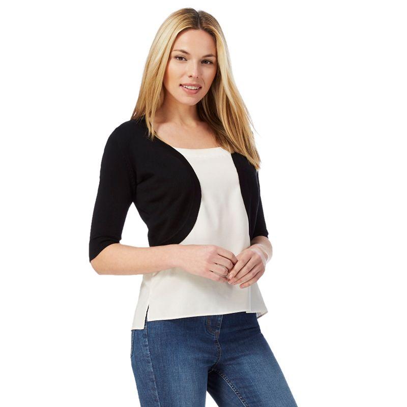 The Collection Black Three-Quarter Length Sleeve Shrug,