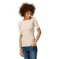 The Collection - Pink ribbed tipped jumper