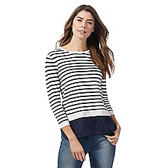 The Collection - Navy striped 2 in 1 jumper