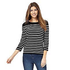 The Collection - Black striped lace up jumper