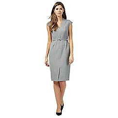 The Collection Petite - Grey v-neck knee length petite shift dress