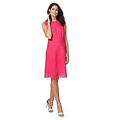 The Collection - Pink lace linen blend knee length shift dress