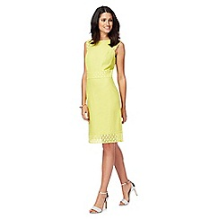The Collection - Lime lace linen blend knee length shift dress