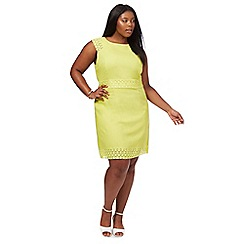 The Collection - Lime lace linen blend knee length plus size shift dress