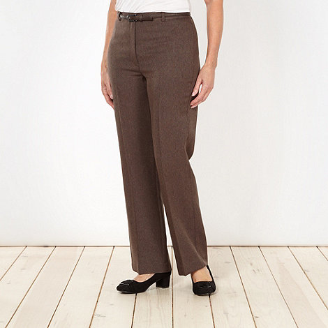 Classics - Chocolate herringbone belted trousers