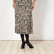 Black palm print skirt